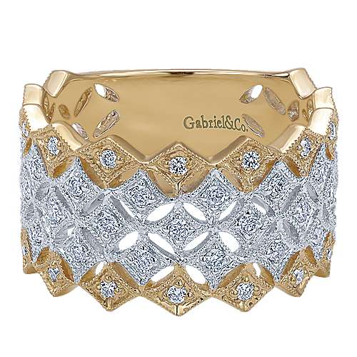 Gabriel - 14k Yellow/white Gold Victorian Fashion Ladies' Ring