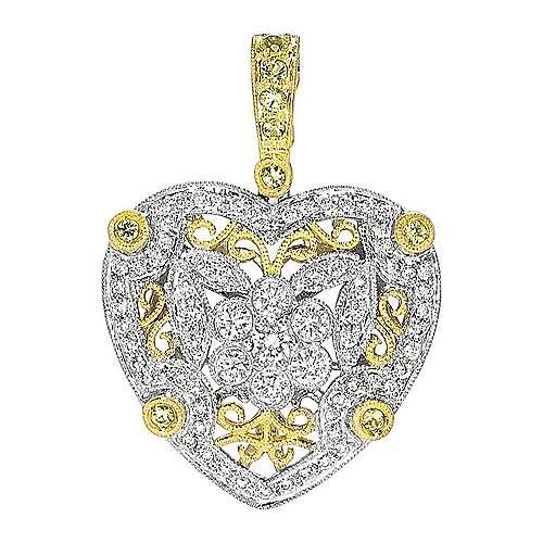 Gabriel - 14k Yellow/white Gold Victorian Heart Heart Pendant