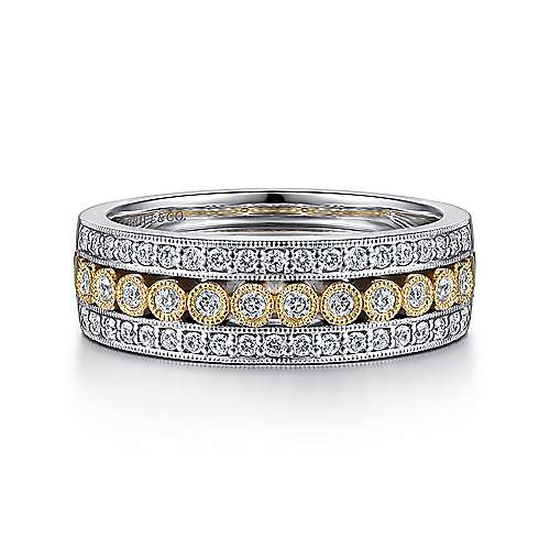 Gabriel - 14k Yellow/white Gold Victorian Wide Band Ladies' Ring