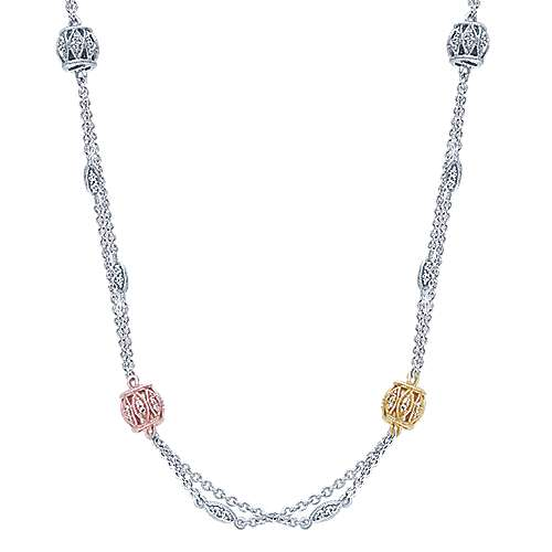 Gabriel - 14k Yellow/white/rose Gold Endless Diamonds Station Necklace