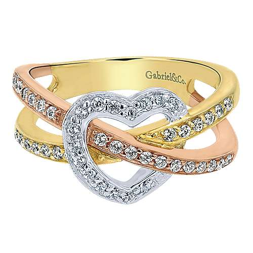 Gabriel - 14k Yellow/white/rose Gold Eternal Love Fashion Ladies' Ring