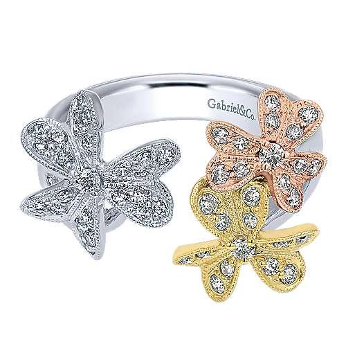 Gabriel - 14k Yellow/white/rose Gold Floral Fashion Ladies' Ring