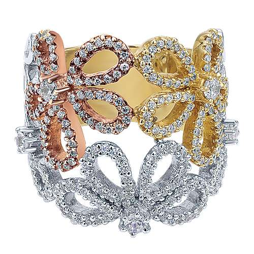 Gabriel - 14k Yellow/white/rose Gold Floral Fashion Ladies' Ring