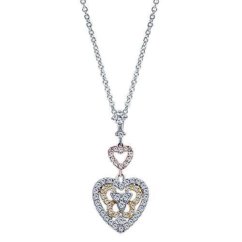 Gabriel - 14k Yellow/white/rose Gold Lusso Diamond Heart Necklace