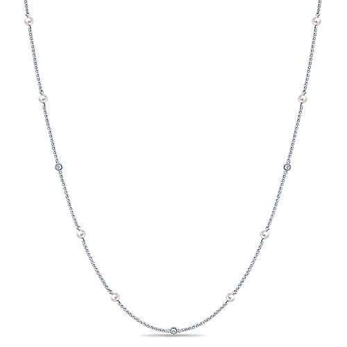 16inch 14K White Gold Diamond & Cultered Pearl Station Necklace
