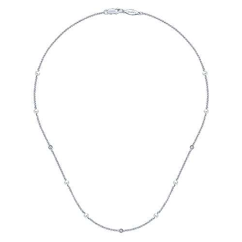 16inch 14K White Gold Diamond & Cultered Pearl Station Necklace angle 2