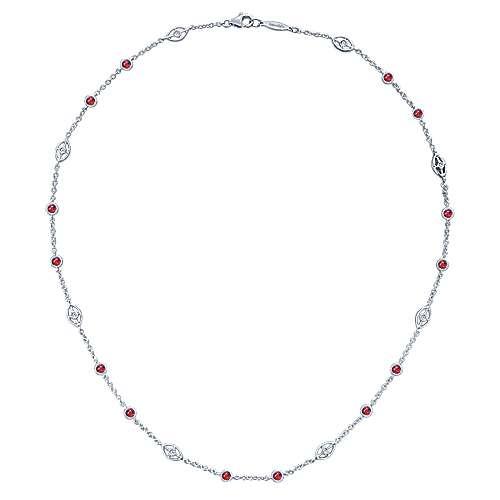16inch 14K White Gold Diamond & Ruby Station Necklace angle 2