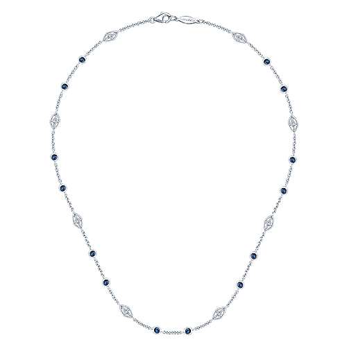 16inch 14K White Gold Diamond & Sapphire Station Necklace angle 2