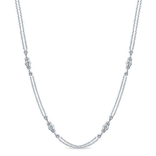 16inch 14K White Gold Diamond Station Necklace angle 1