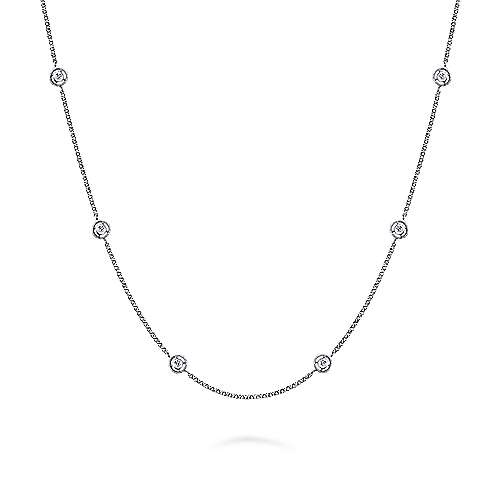 16inch 14K White Gold Diamond Station Necklace