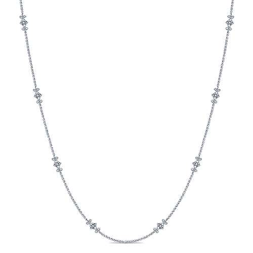16inch 14K White Gold Diamond Station Necklace angle 1