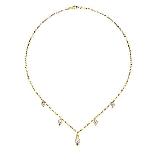 16inch 14K Yellow Gold Cultured Pearl Station Necklace angle 2