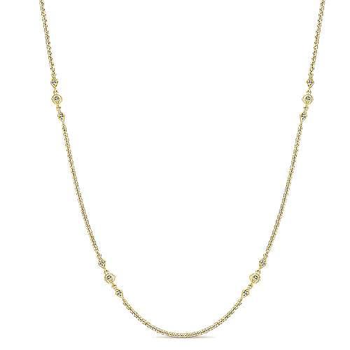 Gabriel - 16inch 14K Yellow Gold Diamond Station Necklace