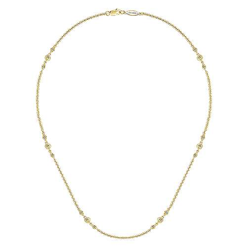 16inch 14K Yellow Gold Diamond Station Necklace angle 2