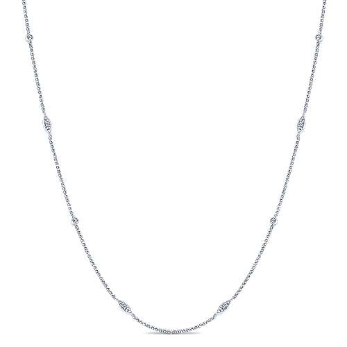 16inch 14k White Gold Diamond Round & Marquise Station Necklace