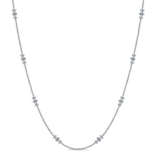 16inch 14k White Gold Openwork Diamond Station Necklace