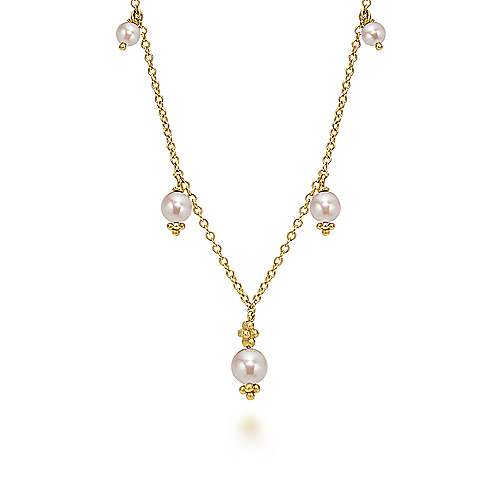 16inch 14k Yellow Gold Cultured Pearl Station Necklace