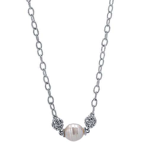 17inch 925 Silver Cultered Pearl Station Necklace