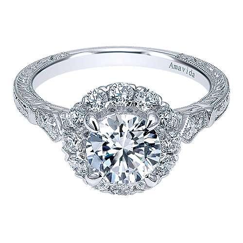 Gabriel - 18k White Gold Victorian Engagement Ring