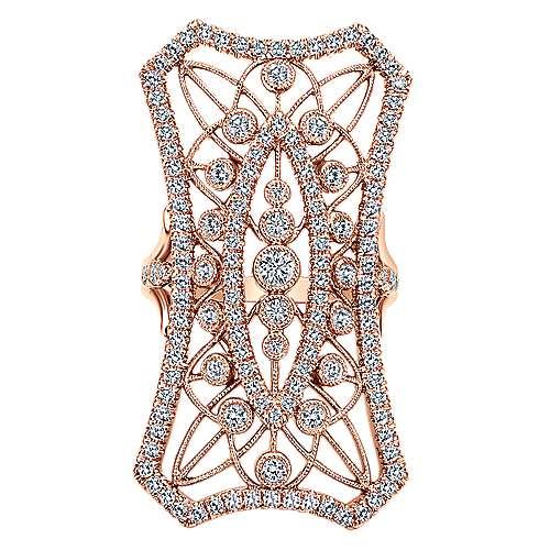 Gabriel - 18k Pink Gold Art Moderne Fashion Ladies' Ring