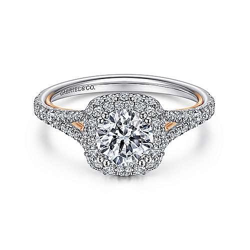 Gabriel - 18k White/pink Gold Blush Engagement Ring
