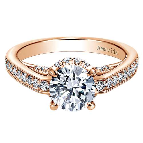 Gabriel - 18k Pink Gold Contemporary Engagement Ring