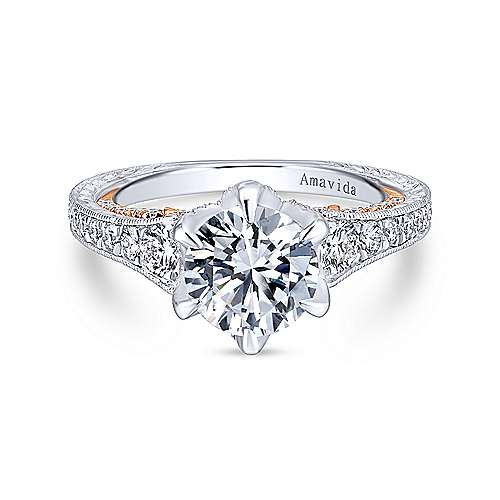 Gabriel - 18k White/pink Gold Majestic Engagement Ring