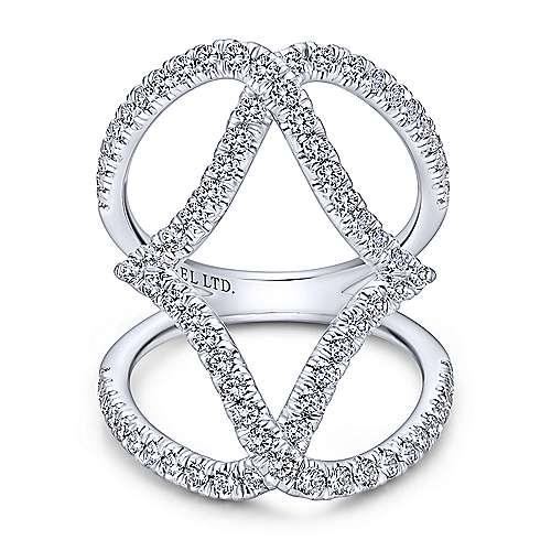 Gabriel - 18k White Gold Kaslique Wide Band Ladies' Ring