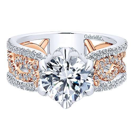 Gabriel - 18k White/pink Gold Contemporary Engagement Ring