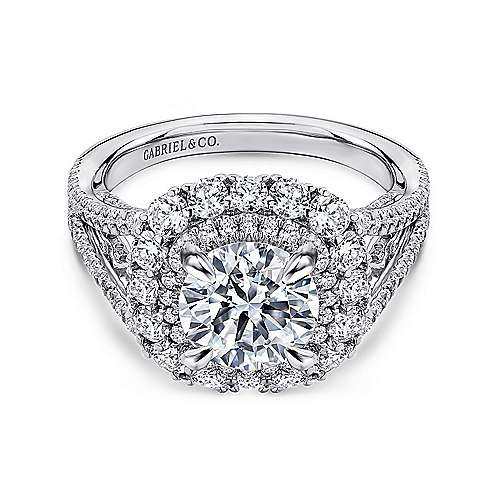 Gabriel - 18k White Gold Rosette  Engagement Ring