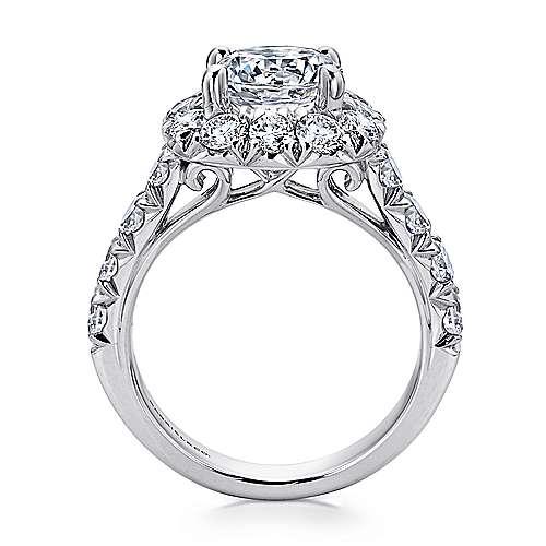 18K White Gold Cushion Halo Round Diamond Engagement Ring
