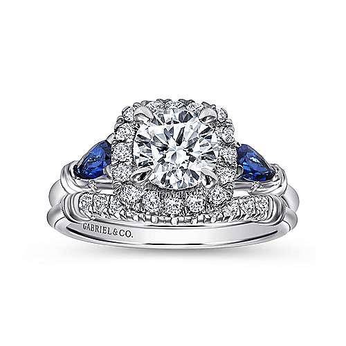 18K White Gold Cushion Three Stone Halo Round Sapphire and Diamond Engagement Ring