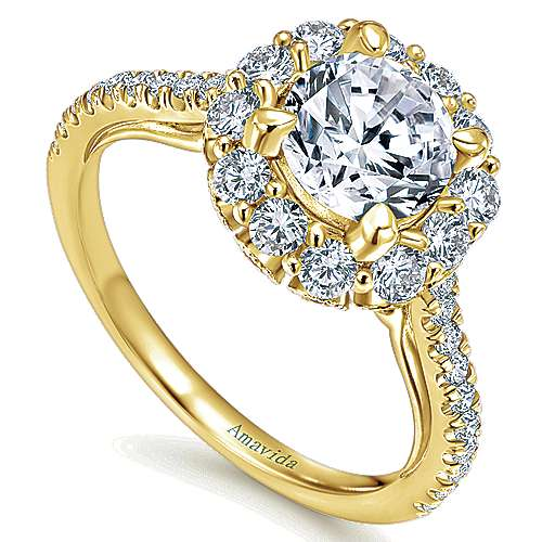 18K Y.Gold Dia Eng Ring angle 3