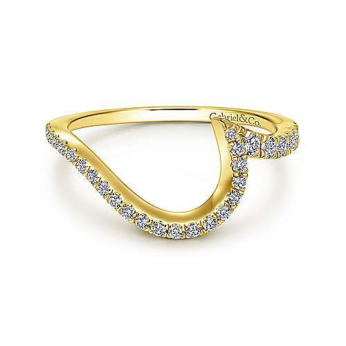 Gabriel - 18k Yellow Gold Contemporary Curved Wedding Band