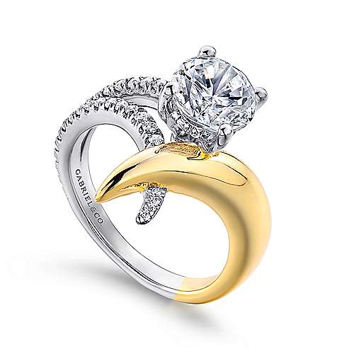 18K Y&W.Gold Dia Eng Ring angle 3