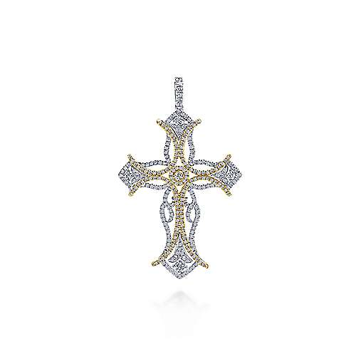 18K Yellow-White Gold  Fashion Cross Pendant