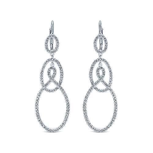 Gabriel - 18k White Gold Contemporary Drop Earrings