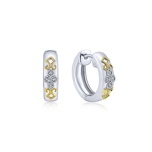 Gabriel - 925 Silver/18k Yellow Gold Huggies Huggie Earrings