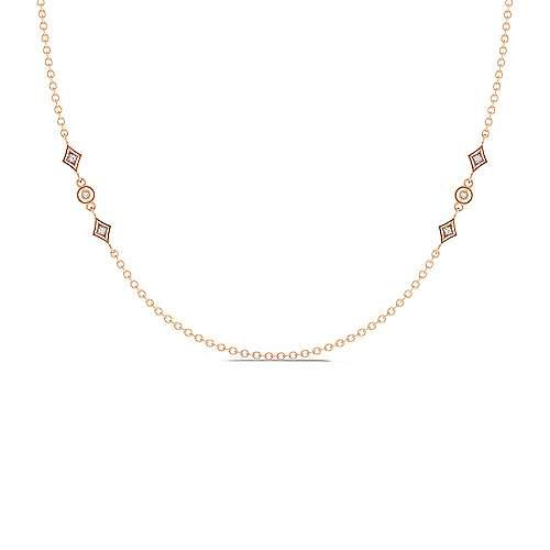 18inch 14K Rose Gold Diamond Station Necklace angle 1