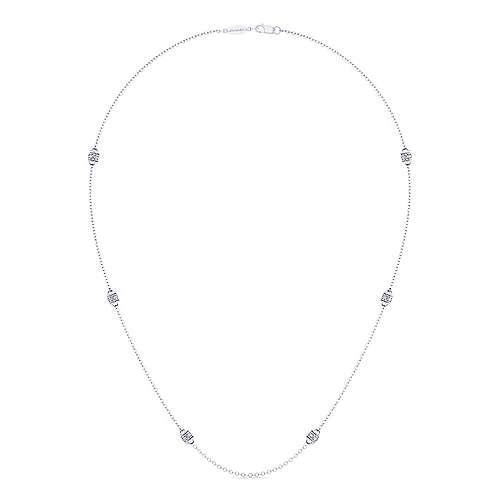 18inch 14K White Gold Diamond Station Necklace angle 2