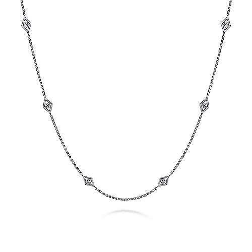 18inch 14K White Gold Diamond Station Necklace angle 1