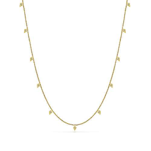 18inch 14K Yellow Gold Diamond Station Necklace