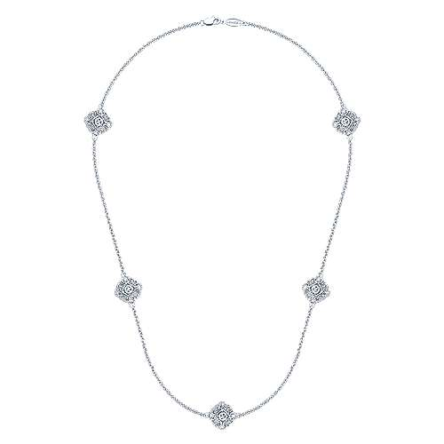 18inch 925 Silver Diamond Station Necklace angle 2