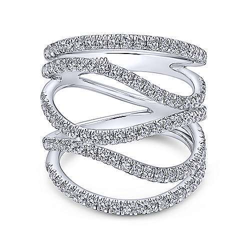 18k Curved White Gold Pave Diamond Wide Band Ladies