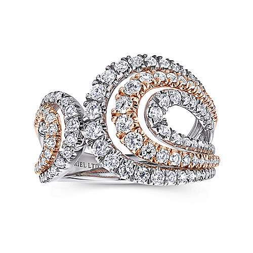 18k Layered White and Pink Gold Diamond Wide Band Ladies
