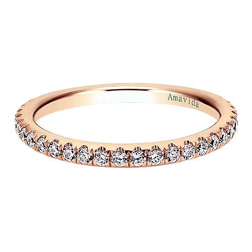 18k Pink Gold Contemporary Straight Wedding Band angle 1