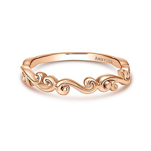 18k Pink Gold Curved Wedding Band angle 1
