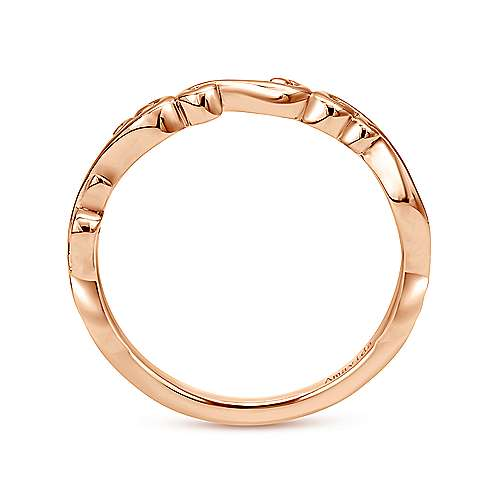 18k Pink Gold Curved Wedding Band angle 2