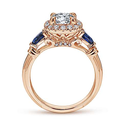 18k Pink Gold Diamond  And Sapphire Halo Engagement Ring angle 2