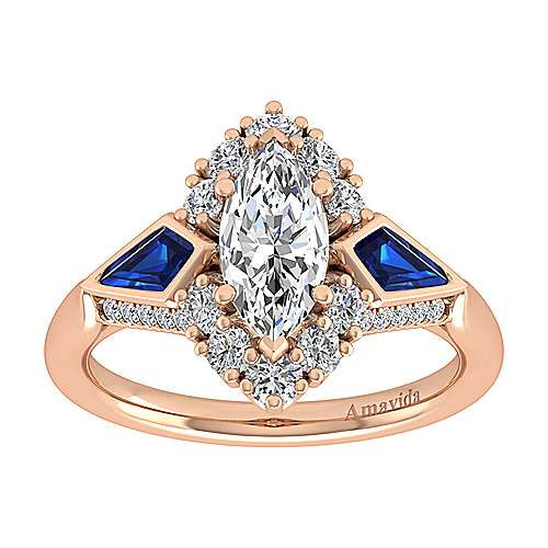 18k Pink Gold Diamond  And Sapphire Halo Engagement Ring angle 5